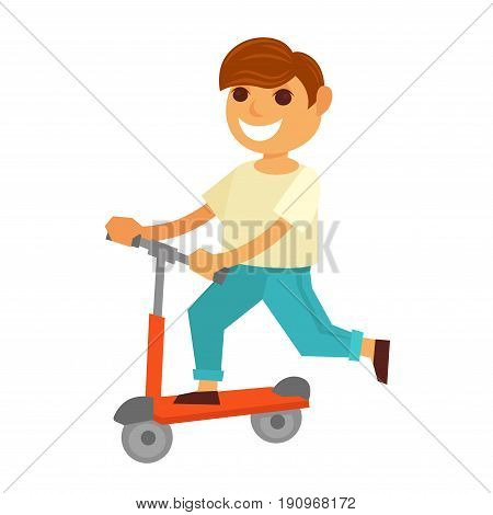 Happy little boy in white T-shirt, blue jeans and brown shoes rides modern red kick scooter and smiles broadly isolated vector illustration on white background. Young cartoon character in move.