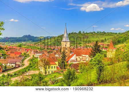 Evangelical fortified church in Mosna village, Romania.