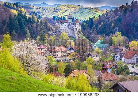 Rural landscape Bran in spring season Transylvania landmark Romania
