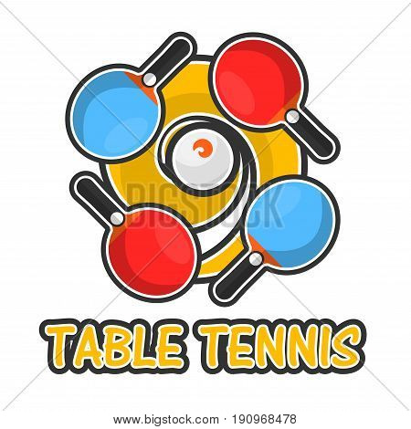 Table tennis colorful logotype isolated on white. vector illustration in flat design of badge showing active sport ping pong and including four special small rackets and inscription underneath