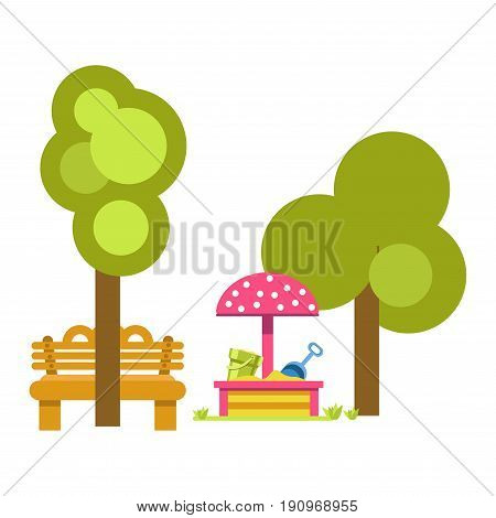 Sandbox for children amusement with mushroom like pink roof near green trees and wooden brown bench. Vector colorful illustration in flat design of outdoor place for adults and kids relaxation