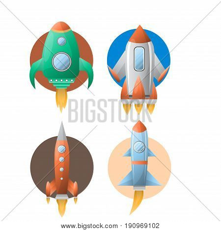 Rockets collection of four against circles isolated on white. Vector poster in flat design of flying transportation means in various shapes with wings and windows exploring space and galaxy.