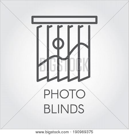 Line icon of photo blinds. Simple outline logo for different design needs. House or office decor concept. Vector illustation on a gray background