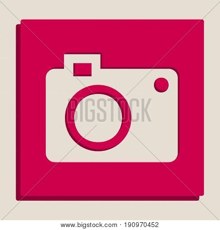 Digital camera sign. Vector. Grayscale version of Popart-style icon.