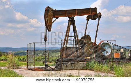Old rusty oil well