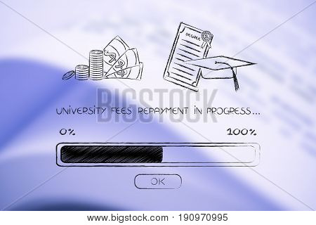 University Fees And Degree With Cap And Progress Bar Loading