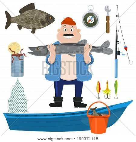 Fishing cartoon sport icon set. Fish fishing rod boat and tackle fisherman catch and equipment. Design element for fishing emblem . Vector illustration.