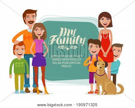 Family banner. Happy people, parents and children. Cartoon vector illustration isolated on white background