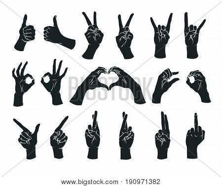 Gesture set. Female hands showing different signs. Vector illustration in sketch style isolated on a white background. Making signals by hands. White lines and dark grey silhouette. Various interpretations.