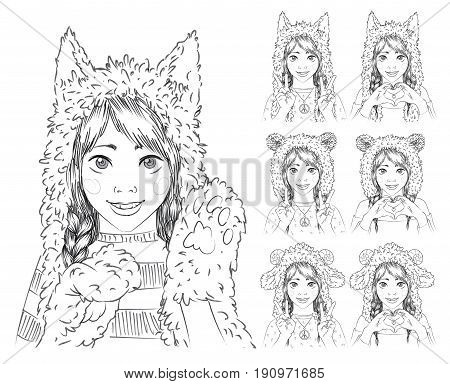 Portrait of a cute teenage girl in different animal hats. Young woman making peace sign and heart sign by her hands. Cat hat or wolf hat with paw gloves, bear hat  and sheep hat with horns. Vector illustration in hand drawn sketch style. Set.
