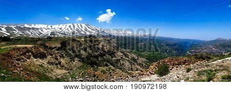 Landscape view to mountains and Kadisha Valley aka Holy Valley in Lebanon