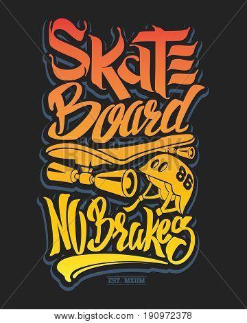 Skate board typography, t-shirt graphics, vector illustration