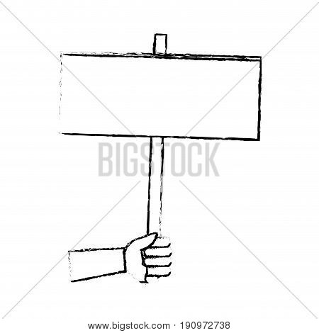 hand holding empty placard elections time vector illustration