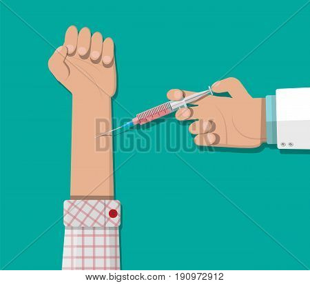 Doctor hand with syringe making vaccination of patient. Healthcare, hospital and medical diagnostics. Vector illustration in flat style