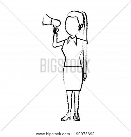 woman holding megaphone promoter speaking advertising politics vector illustration