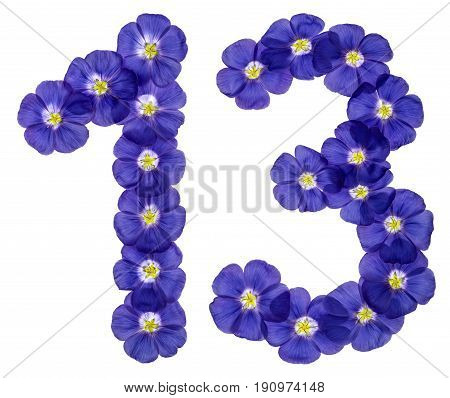 Arabic Numeral 13, Thirteen, From Blue Flowers Of Flax, Isolated On White Background