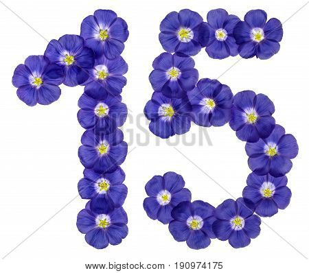 Arabic Numeral 15, Fifteen, From Blue Flowers Of Flax, Isolated On White Background
