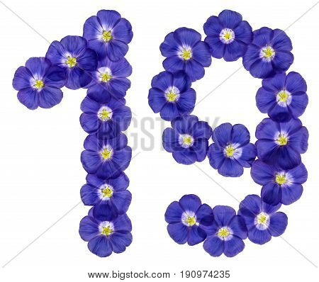 Arabic Numeral 19, Nineteen, From Blue Flowers Of Flax, Isolated On White Background