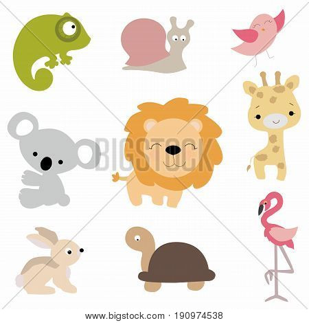 set of cute baby animals in cartoon style on white background. collection of stickers of badges and labels funny animals. pattern to decorate or design greetings or scrapbook. vector illustration. baby shower