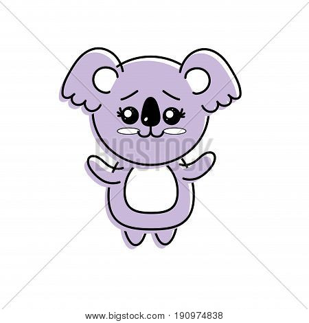 cute koala wild animal with face expression vector illustration