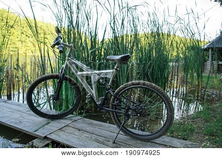Bicycle sport on nature near the river