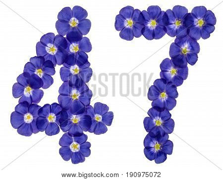 Arabic Numeral 47, Forty Seven, From Blue Flowers Of Flax, Isolated On White Background
