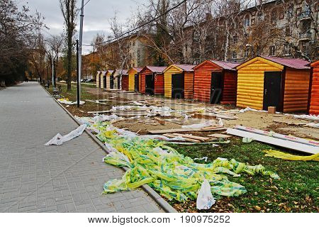 Volgograd Russia - November 18 2012: Preparation of trading houses for the Christmas fair in Volgograd