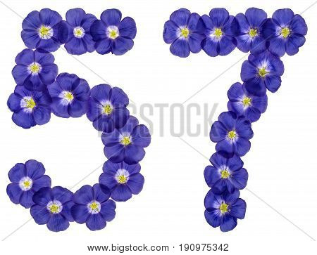 Arabic Numeral 57, Fifty Seven, From Blue Flowers Of Flax, Isolated On White Background