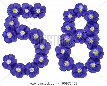 Arabic Numeral 58, Fifty Eight, From Blue Flowers Of Flax, Isolated On White Background