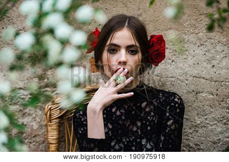 Pretty Girl Holding White Flower In Mouth