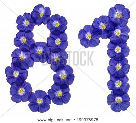 Arabic Numeral 81, Eighty One, From Blue Flowers Of Flax, Isolated On White Background