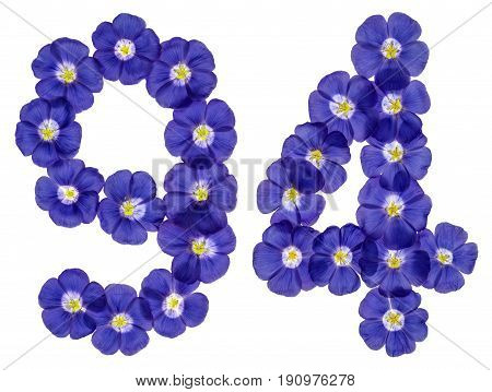 Arabic Numeral  From Blue Flowers Of Flax, Isolated On White Background