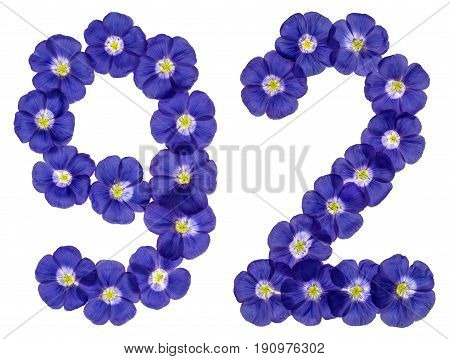 Arabic Numeral 92, Ninety Two, From Blue Flowers Of Flax, Isolated On White Background