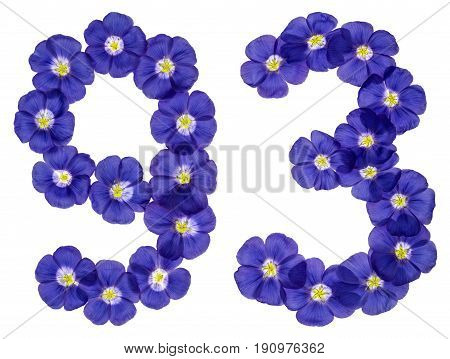 Arabic Numeral 93, Ninety Three, From Blue Flowers Of Flax, Isolated On White Background