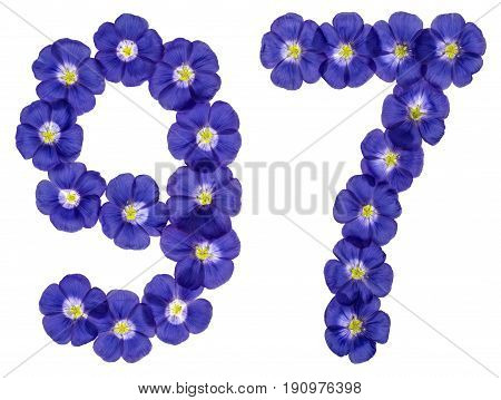 Arabic Numeral 97, Ninety Seven, From Blue Flowers Of Flax, Isolated On White Background