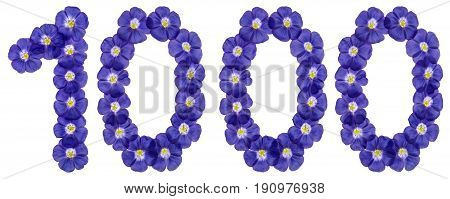 Arabic Numeral 1000, One Thousand, From Blue Flowers Of Flax, Isolated On White Background