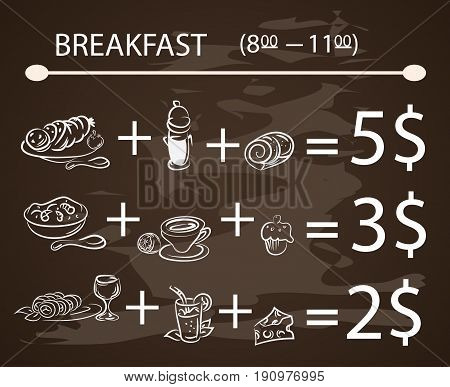 Vector template Breakfast chalkboard menu Vintage Poster , vector set EPS10.