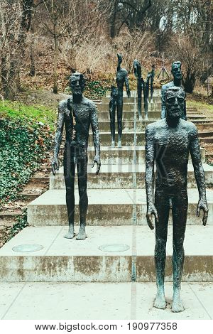 PRAGUE, CZECH REPUBLIC - FEBRUARY 11, 2017: The Memorial to the victims of Communism commemorating the victims of the communist era between 1948 and 1989