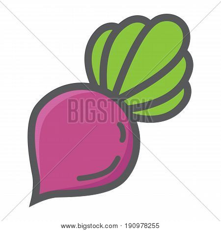 Beet colorful line icon, vegetable and diet, vector graphics, a filled pattern on a white background, eps 10.