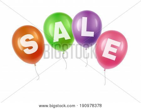Vector illustration of festive balloons transparency with sale