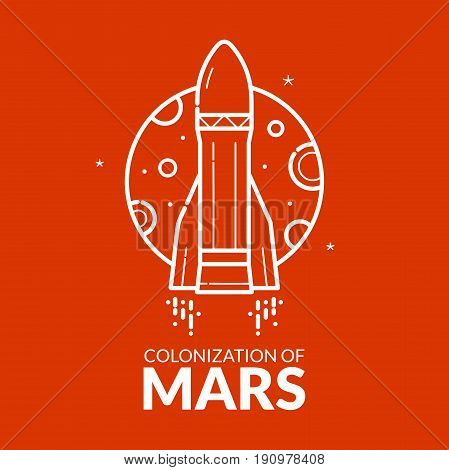Colonization of Mars, concept design, travel to red planet vector illustration