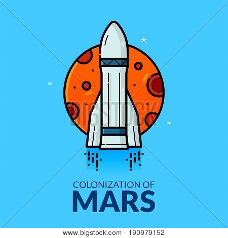 Colonization of Mars, concept design, line art vector illustration