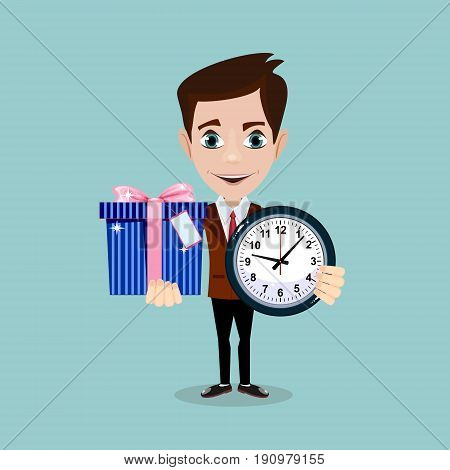 Man holding a Gift Box and a clock. Stock vector illustration for poster, greeting card, website, ad, business presentation, advertisement design.