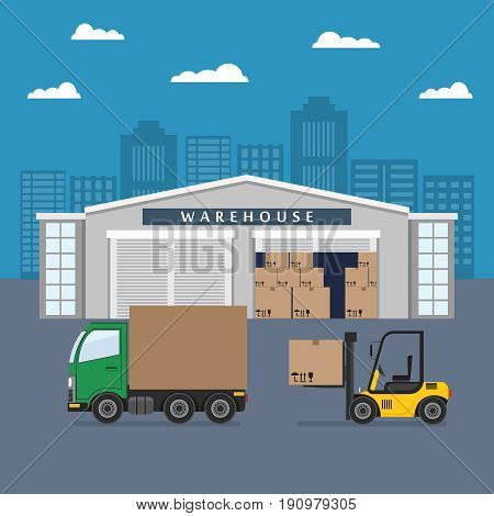 Warehouse building and shipping process. Flat vector illustration.