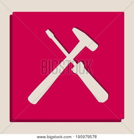 Tools sign illustration. Vector. Grayscale version of Popart-style icon.
