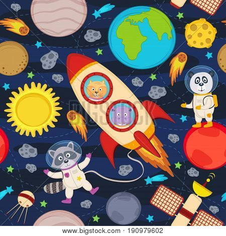seamless pattern with rocket and animals - vector illustration, eps