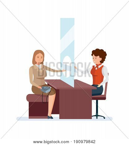 Bank service and staff. Girl, a bank employee, a consultant manager, serves a permanent client at the office table. Vector illustration isolated people cartoon style