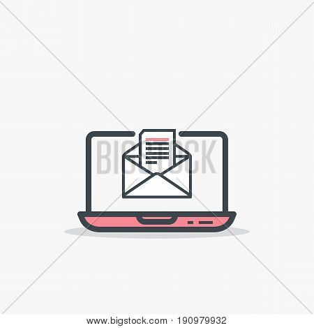 Email and laptop concept. Opened mail envelope and document with text. Modern line style vector illustration. Notebook with e-mail and page in it.