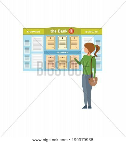 Bank service. The girl is acquainted with an information stand, in a hospital room, awards and thanks. Vector illustration isolated on white background in cartoon style.