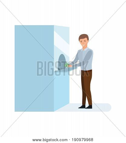 Bank service and staff. The guy is calculated by money in the bank window, conducting settlement financial transactions. Vector illustration isolated on white background in cartoon style.